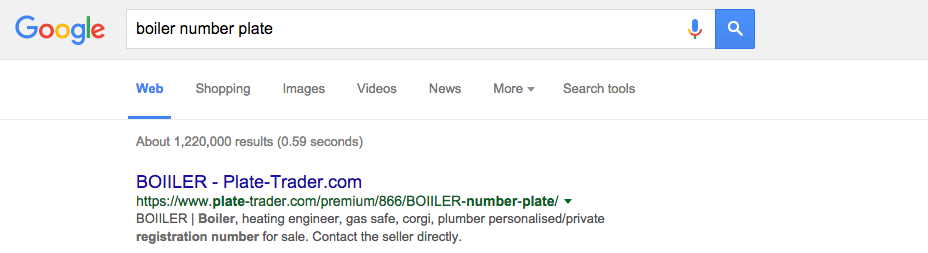 BO11LER advert on Plate-Trader.com at the top of Google for the search term 'Boiler number plate'.