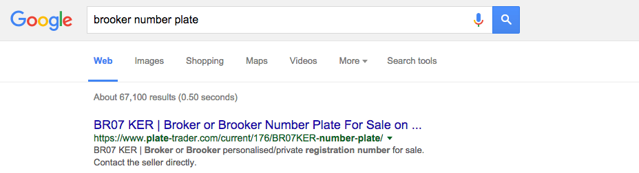 BR07KER advert on Plate-Trader.com at the top of Google for the search term 'Brooker number plate'.