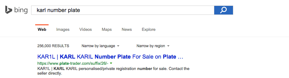 KAR1L advert on Plate-Trader.com at the top of Bing for the search term 'Karl number plate'.