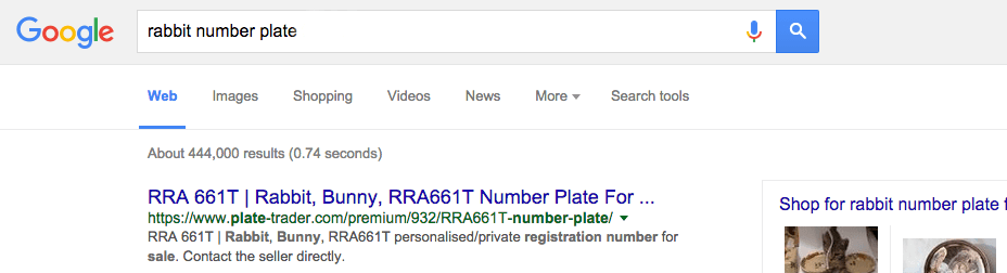 RRA661T advert on Plate-Trader.com at the top of Google for the search term 'Rabbit number plate'.