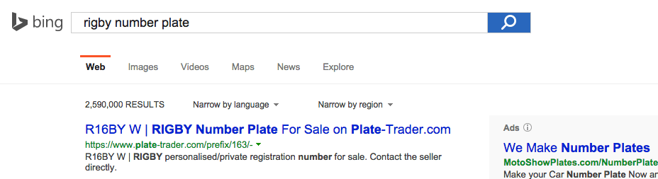 R16BY W advert on Plate-Trader.com at the top of Bing for the search term 'Rigby number plate'.